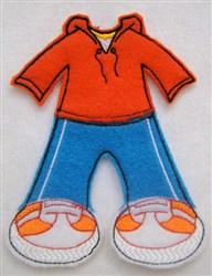 Felt Paperdoll Boys Running Suit embroidery design