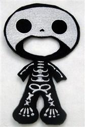 Felt Boy Paperdoll Skeleton Costume embroidery design