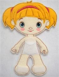 Girl Felt Paperdoll embroidery design