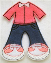 Felt Paperdoll Jeans and Sweater embroidery design