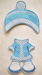 Felt Paperdoll Snowsuit and Hat embroidery design