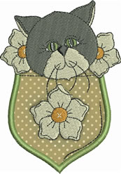Grey Cat Pocket Applique embroidery design