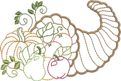 Bountiful Cornucopia embroidery design