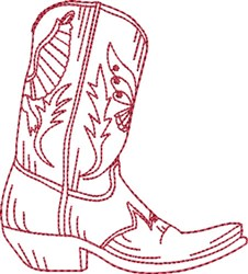 Redwork Cowboy Boot 1 embroidery design