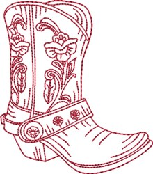 Redwork Cowboy Boot 2 embroidery design