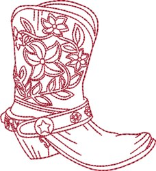 Redwork Cowboy Boot 3 embroidery design