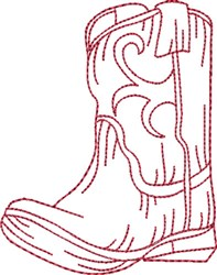 Redwork Cowboy Boot 7 embroidery design