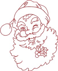 Winking Santa embroidery design
