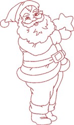 Santa with Star embroidery design