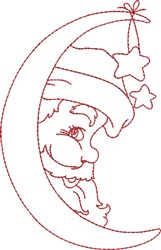 Santa in the Moon embroidery design
