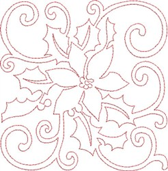 Pointsettia Quilt Block embroidery design