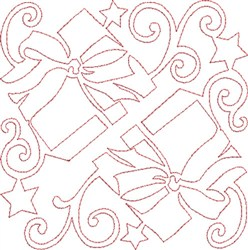 Christmas Gifts Quilt Block embroidery design