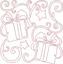 Christmas Presents Quilt Block embroidery design