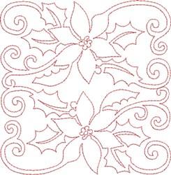 Pointsettias Quilt Block embroidery design
