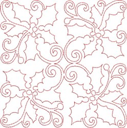 Christmas Holly Quilt Block embroidery design