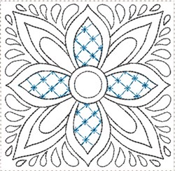 ITH Painted Tile Quilt Block 7 embroidery design