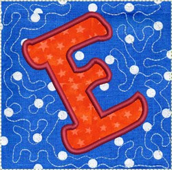 ITH Alphabet Quilt Block E embroidery design