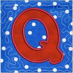 ITH Alphabet Quilt Block Q embroidery design