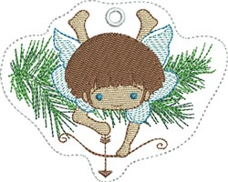 ITH Angel with Bow Felt Ornament embroidery design