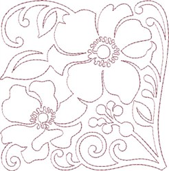 Anemone Single Run Quilting H embroidery design