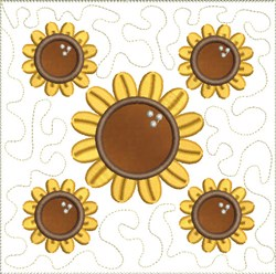 Autumn Sunflowers Applqiues embroidery design