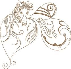 Fantasy Heart Shaped Arabian embroidery design
