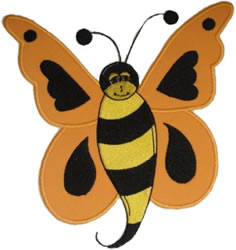 Orange Butter Bee embroidery design