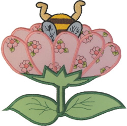 Bee Bud Applique embroidery design