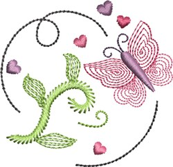Butterfly Kisses 6 embroidery design