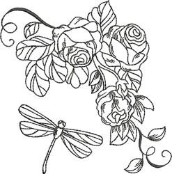 Blackwork Roses & Dragonfly embroidery design