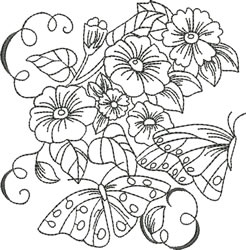 Blackwork Floral Butterflies embroidery design