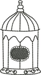 Small Backstitched Birdcage embroidery design
