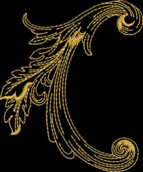 Metallic Gold Baroque embroidery design