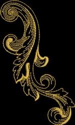 Metallic Gold Baroque Florish embroidery design