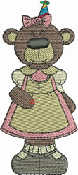 Birthday Girl Bear embroidery design