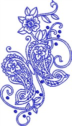 Bluework Paisley Butterflies embroidery design