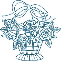 Bluework Flower Basket embroidery design