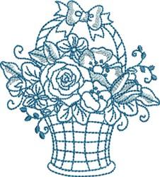 Bluework Flower Basket embroidery design