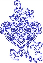Bluework Paisley Heart embroidery design