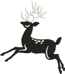 Leaping Black & White Reindeer embroidery design
