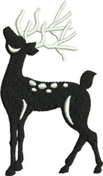 Baying Black & White Reindeer embroidery design