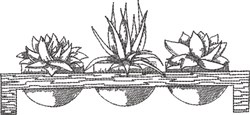 Blackwork Succulents 3 embroidery design