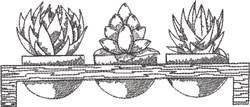 Blackwork Succulents 4 embroidery design
