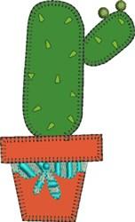 Cactus in Terra Cotta Pot Applique embroidery design