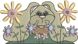 Bunny in Flowers embroidery design