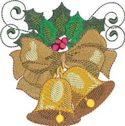 Christmas Bells and Bows embroidery design