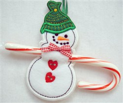 ITH Snowman Candy Cane Holder embroidery design