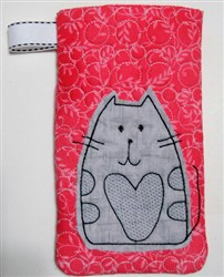 Fat Cat Wide Eyeglass Case 2 embroidery design