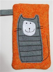 Striped Cat Wide Eyeglass Case 3 embroidery design