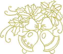 Golden Christmas Bells embroidery design